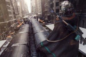 train, Snipers, Mask, War, Metro, Futuristic