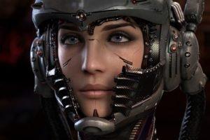 cyberpunk, Cyborg, Helmet