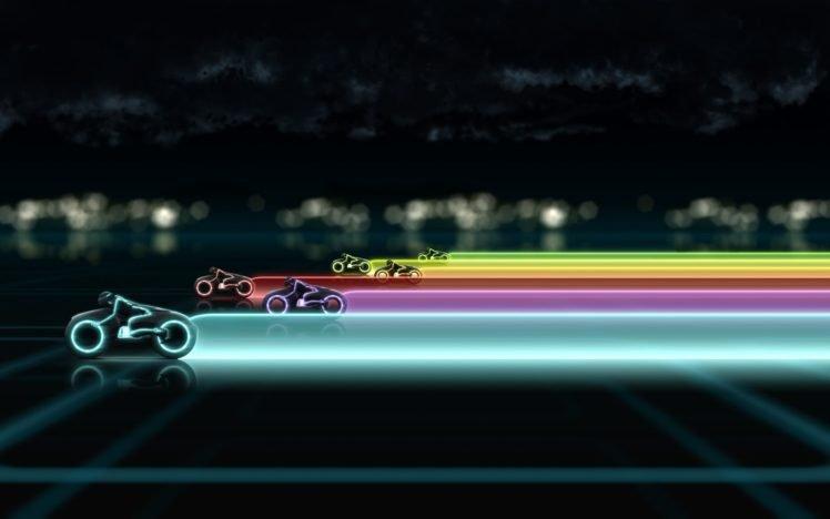 colorful, Tron, Light Cycle HD Wallpaper Desktop Background
