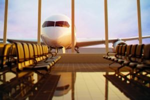 airplane, Airport, Chair, Passenger aircraft, Window, Sunlight, Reflection, Depth of field