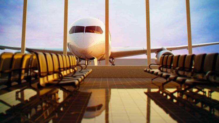 airplane, Airport, Chair, Passenger aircraft, Window