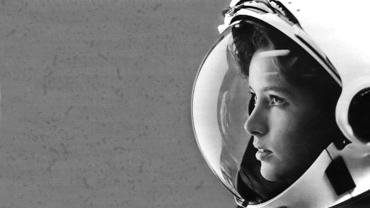 astronaut, Anna Lee Fisher, Monochrome HD Wallpaper Desktop Background