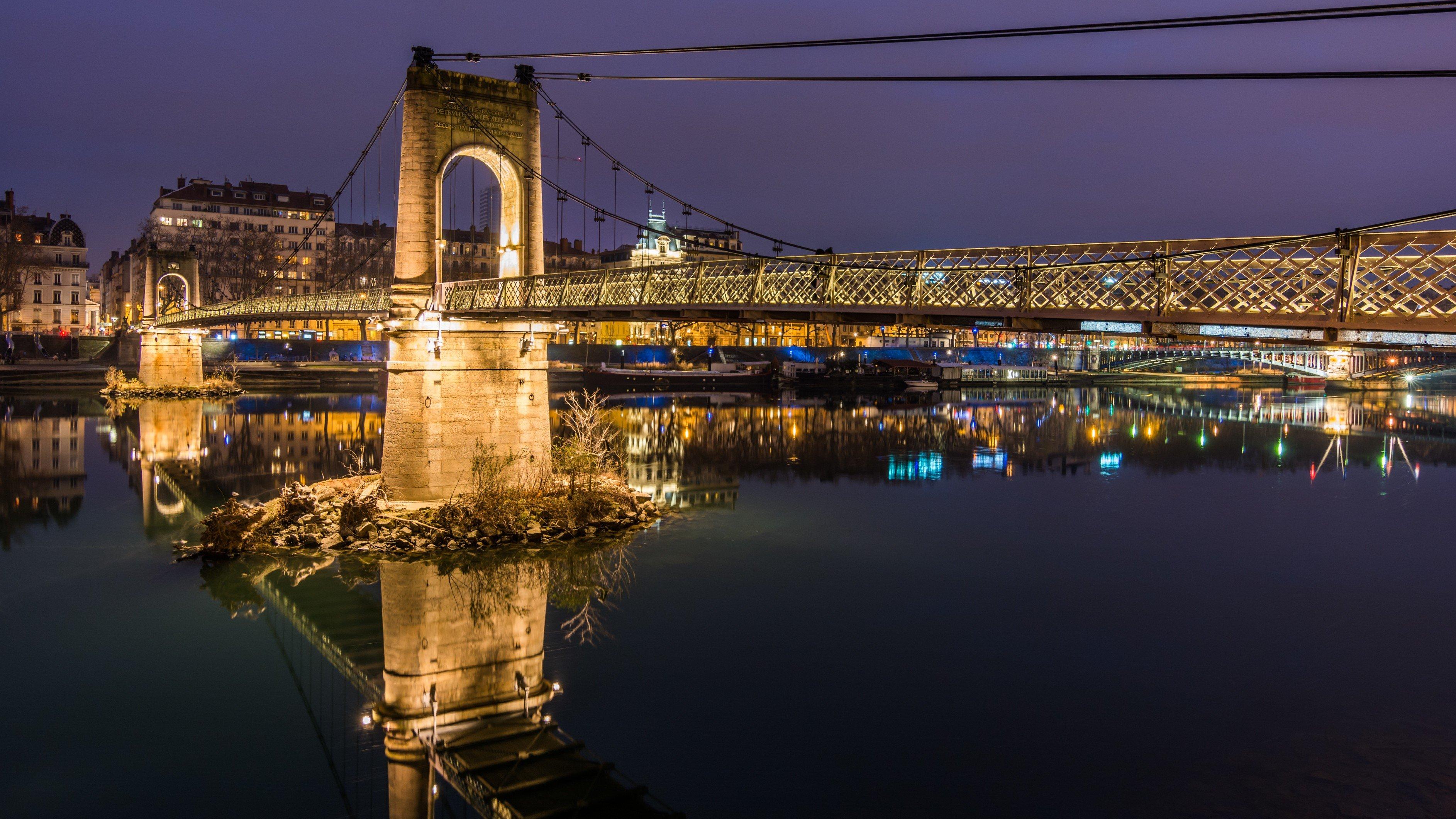 Bridge, Night, Lyon, France HD Wallpapers / Desktop And