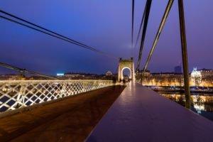 bridge, Night, Lyon, France