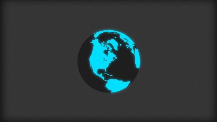 minimalism, Globes, World, Glowing, Blue HD Wallpaper Desktop Background