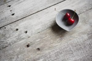 cherries, Bowls, Wooden surface