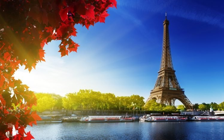 Paris Eiffel Tower Sunlight Boat Fall Hd Wallpapers