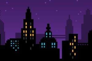pixel art, Pixels, Purple, Skyline, Cityscape, City, Blue, Yellow, Black, 8 bit, Vector art