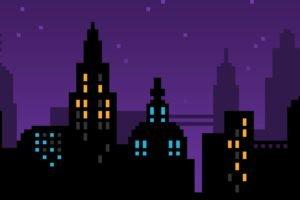 pixel art, Pixels, Purple, Skyline, Cityscape, City, Blue, Yellow, Black, 8 bit, Vector art