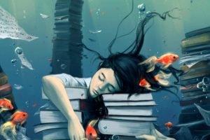 books, Fish, Bubbles, Closed eyes, Paper, Underwater, AquaSixio