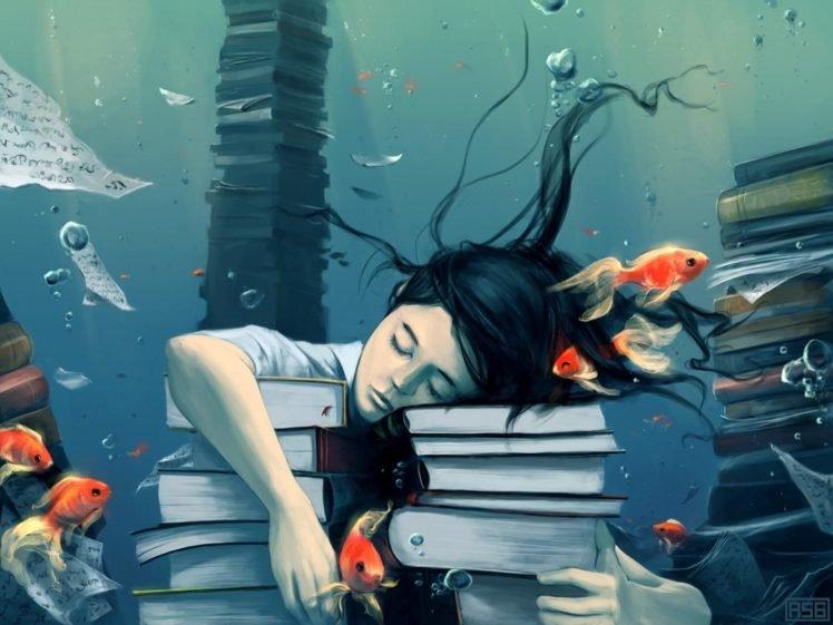 books, Fish, Bubbles, Closed eyes, Paper, Underwater, AquaSixio HD Wallpaper Desktop Background