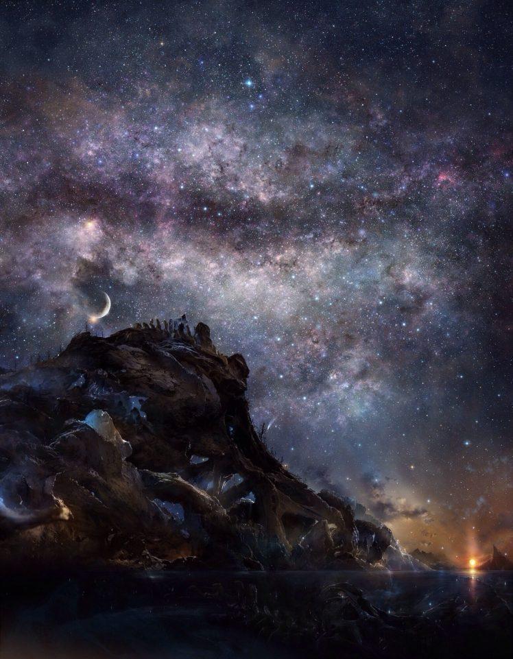 crescent moon, Milky Way HD Wallpaper Desktop Background