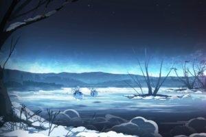manga, Snow, Touhou, Cirno
