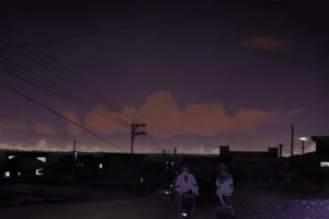 power lines, Road, Night, Students, Utility pole