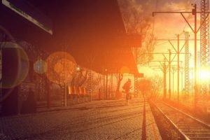 train station, Sunlight, Bokeh, Power lines, Cobblestone, Lens flare, Utility pole