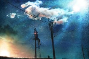 power lines, Traffic lights, Stars, Lens flare, Utility pole