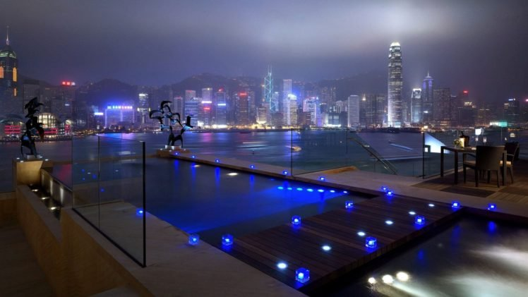 architecture, Night, Lights, Cityscape, Long exposure, Swimming pool, Skyscraper, Building, Hill, Water HD Wallpaper Desktop Background