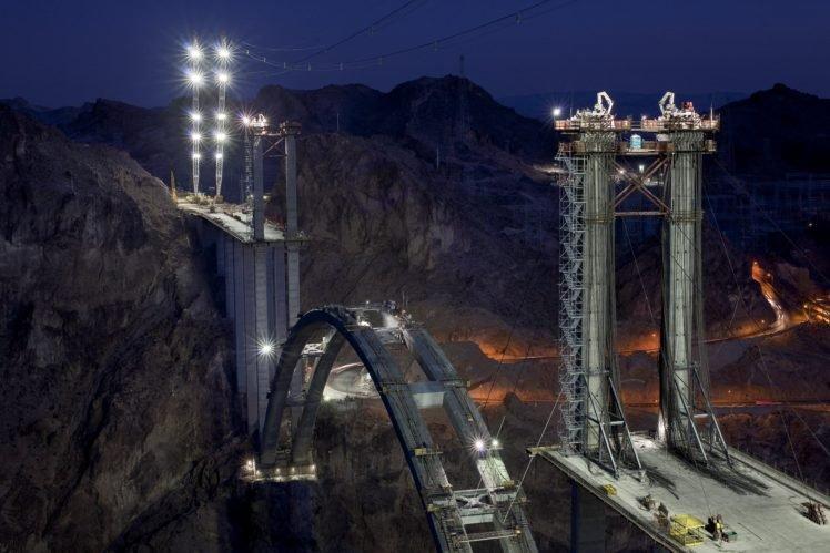 architecture, Night, Lights, Mountain, Bridge, Construction site, USA, Dam, Long exposure, Road HD Wallpaper Desktop Background