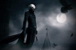 Devil May Cry, Dante, Gun, White hair, Moon