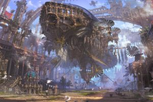 ship, Ruin, Airships, Steampunk, Futuristic, City
