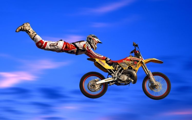 motocross, Jumping HD Wallpaper Desktop Background