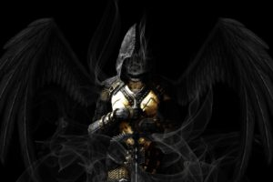 angel, Wings, Sword, Dark