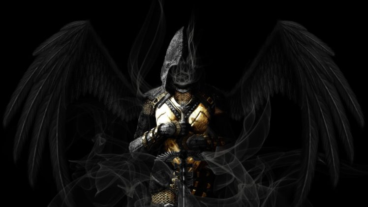 angel, Wings, Sword, Dark HD Wallpaper Desktop Background