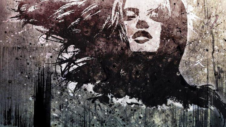 drawing, Face, Paint splatter, Grunge, Alex Cherry HD Wallpaper Desktop Background