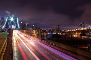 night, Lights, Long exposure, Cityscape, City, New York City, Road, Bridge, Skyscraper