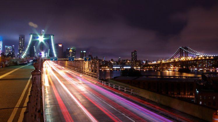 Night Lights Long Exposure Cityscape City New York City Road