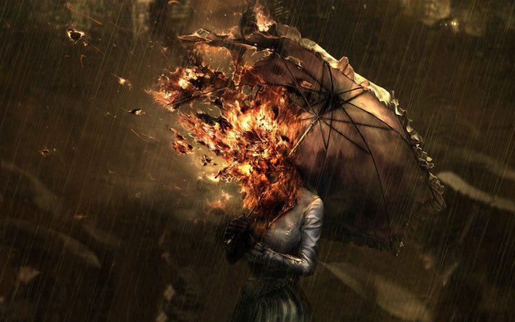 rain, Fire, Umbrella HD Wallpaper Desktop Background