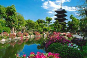pond, Trees, Pagoda