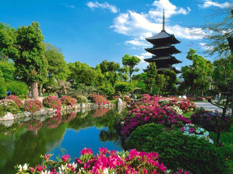 pond, Trees, Pagoda HD Wallpaper Desktop Background