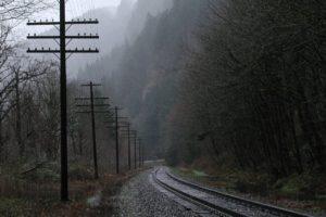 rain, Railway, Power lines, Utility pole