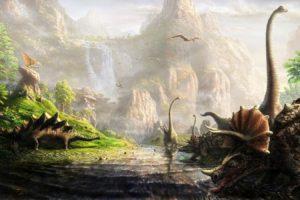 dinosaurs, Brachiosaurus, Stegosaurus, Triceratops, Pterodactyl