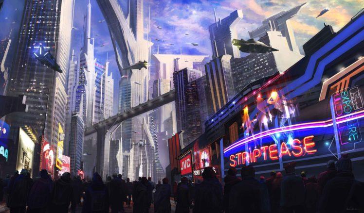 futuristic, Neon, Aircraft HD Wallpaper Desktop Background