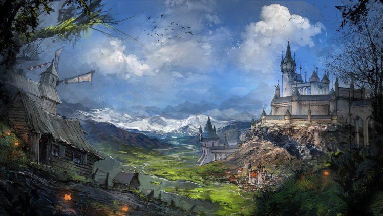 castle, Windmills HD Wallpaper Desktop Background