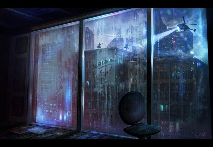 Rain Window City Pursuit Hd Wallpapers Desktop And