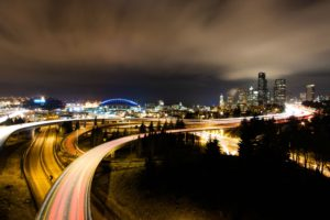 road, Long exposure, Interchange, Cityscape, Seattle, Night