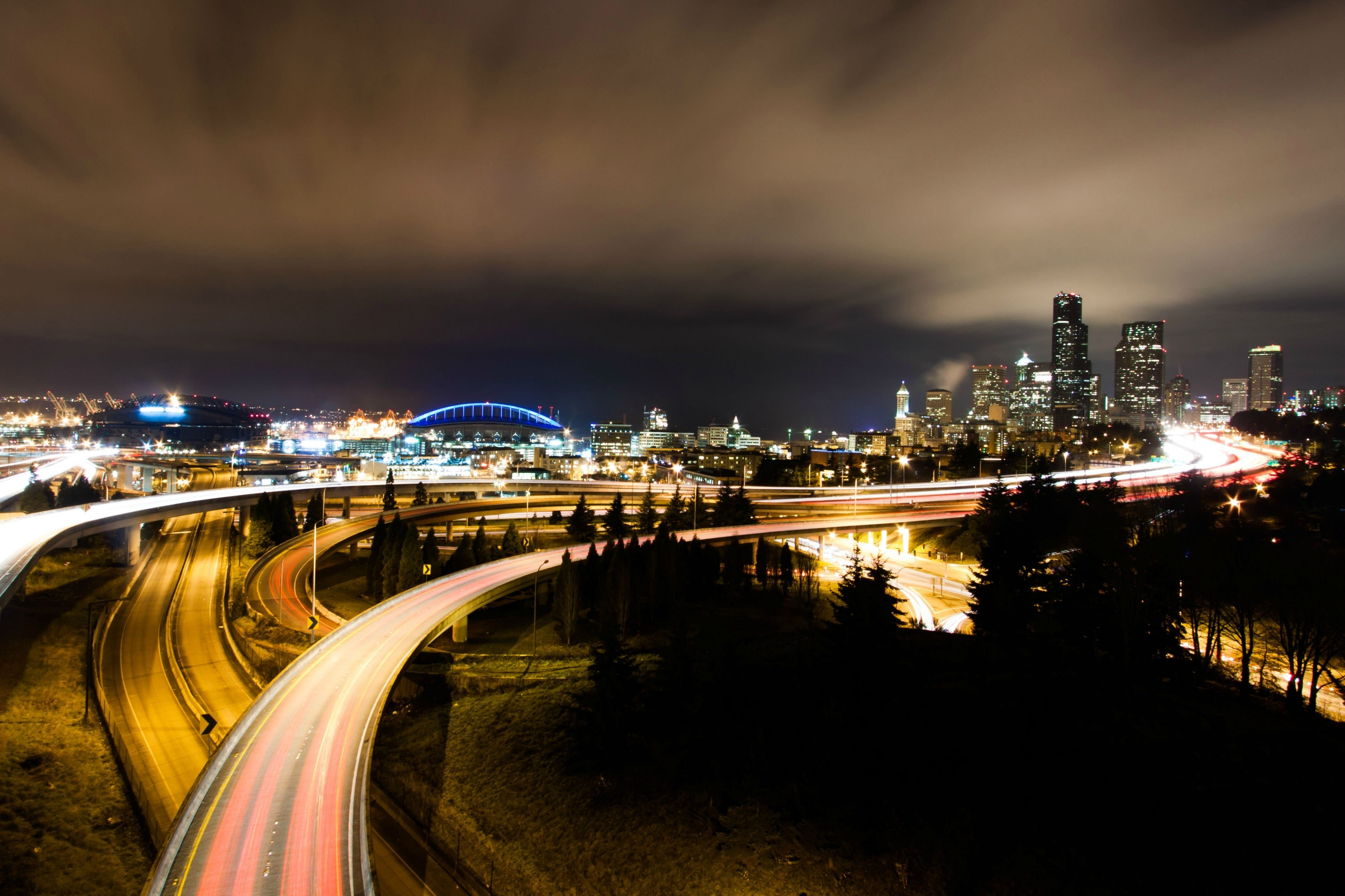 развязка огни ночь мост interchange lights night the bridge бесплатно