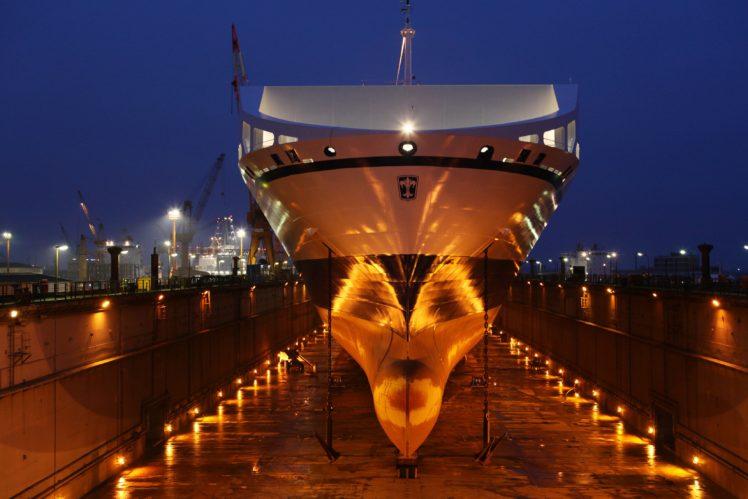 ship, Dock, Shipyard, Cranes (machine), Lights, Night, Reflection, Anchors HD Wallpaper Desktop Background