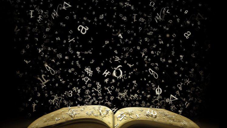 books, Literature, Numbers, Signs, Knowledge, Black background, Greek HD Wallpaper Desktop Background