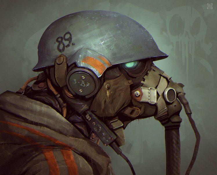 leather armor, Rives Alexis, Helmet, Soldier, Gas masks HD Wallpaper Desktop Background