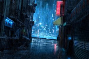 rain, Night, Cityscape, City
