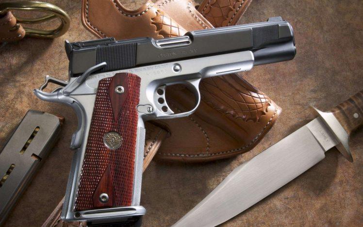 gun, Knife, Pistol, M1911 HD Wallpaper Desktop Background