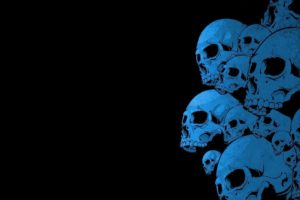 black background, Blue, Skull