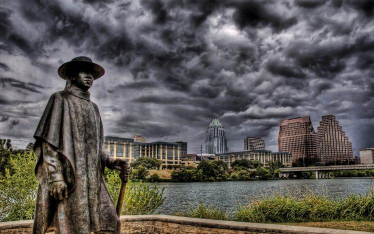 Hdr Building Statue Cityscape Austin Austin Texas