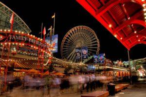 city, HDR, Ferris wheel, Motion blur, Lights