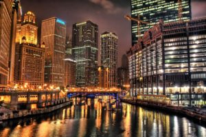 HDR, Building, Reflection, Lights, Cityscape, Chicago, Cranes (machine), Canal