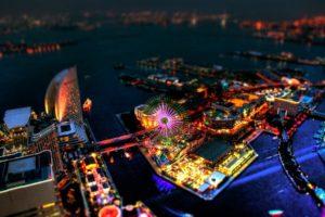 cityscape, Lights, Tilt shift, Ferris wheel, Japan
